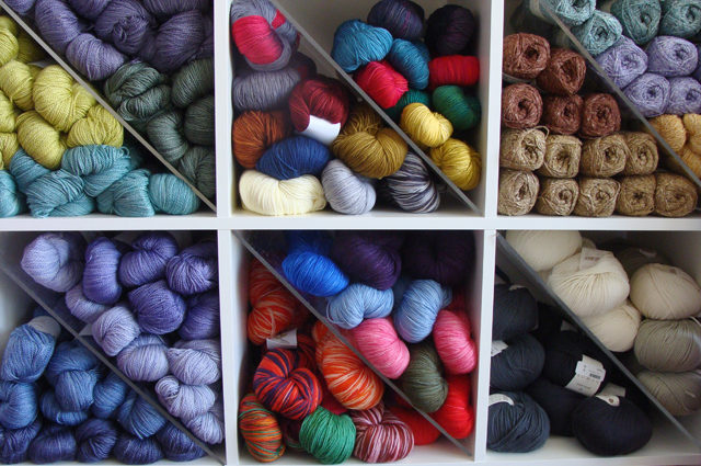 yarn in bins