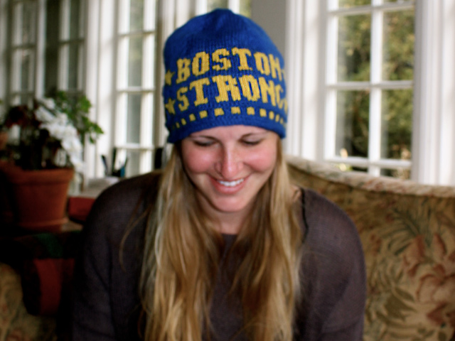 Boston Strong hat to knit