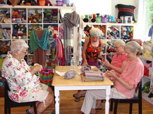 Beginner knitting class in session