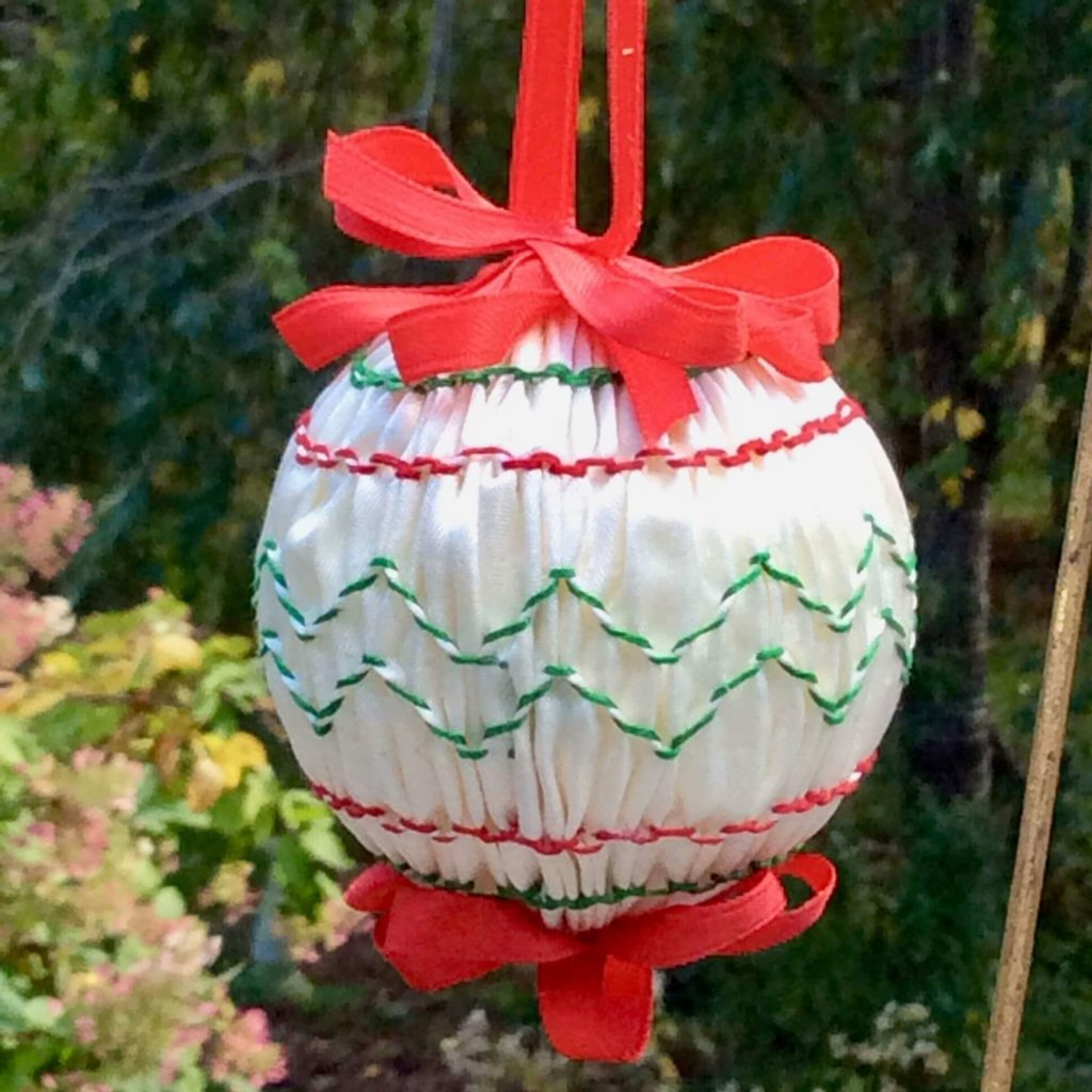 Smocked holiday ornament