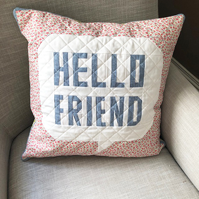 Learn to sew this Hello Friend Pillow
